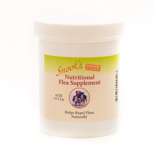 Snook's nutritional flea supplement helps repel fleas naturally, shown in 4oz jar.