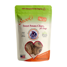 Load image into Gallery viewer, 8oz pouch of Snook's Sweet Potato Chips for dogs. Made from dried golden sweet potatoes.
