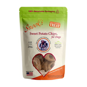 8oz pouch of Snook's Sweet Potato Chips for dogs. Made from dried golden sweet potatoes.