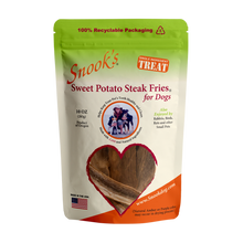 Load image into Gallery viewer, 10oz  pouch Sweet Potato Steak Fries for Dogs - made from GMO Free dried golden sweet potatoes.