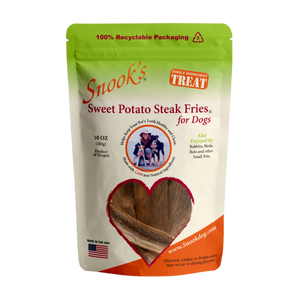 10oz  pouch Sweet Potato Steak Fries for Dogs - made from GMO Free dried golden sweet potatoes.