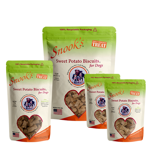 Snooks Sweet Potato Biscuit Group image showing available sizes in 4oz,, 8oz, 16oz, 5lb and 10lb