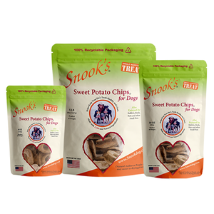 Snook's Sweet Potato Chips for dogs. Made from dried golden sweet potatoes.