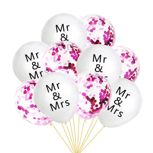 10Pcs/lot Wedding Decor Confetti Latex Balloons Mr&Mrs Letter Balloons Bridal Shower Wedding Party Engagement Decoration - Kesheng special effect equipment
