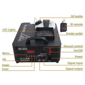 1500W RGB LED DMX Control Color Fog Smoke Machine Remote Fogging Machines for Stage DJ Home Party Wedding Effect - Kesheng special effect equipment