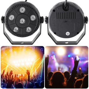 AC 90-240V Voice-activated Mini RGB 6LED PAR Stage Light Indoor Disco Lamp Home Party Stage Lamp Holiday Lighting EU Plug - Kesheng special effect equipment