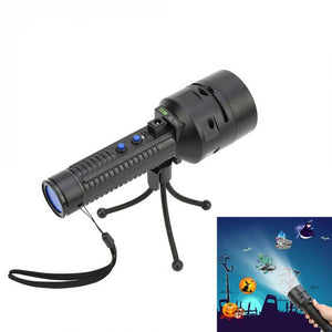 LED Projector Flashlight With 3 Pcs Slides Tripod Screwdriver USB/Battery Powered Handheld Stage Light --M25 - Kesheng special effect equipment