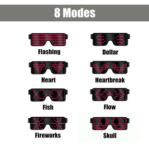8 Modes Flash Led Party Glasses USB charge  Stage Effect Novelty LED Light Music Show Concert Decor Glowing Luminous Glasses - Kesheng special effect equipment