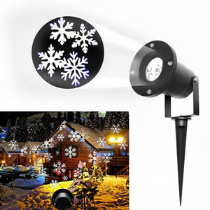 LED Lights Christmas Projection Lamp Aluminum Shell LED Landscape Projector Snowflake Pattern Landscape US EU UK Plug - Kesheng special effect equipment