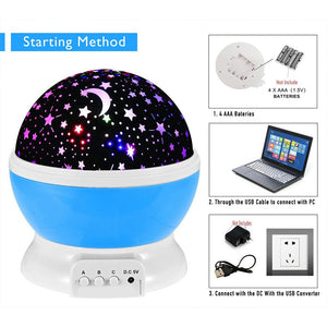LED Star Sky Projector Baby Night Light Children Kid Room Lighting Lamp New - Kesheng special effect equipment