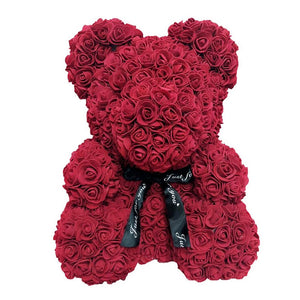 40cm 25cm Valentine Rose Bear Heart Flower Gift For Girlfriend Birthday Wedding Artificial Party Home Decor Wine Red Pink - Kesheng special effect equipment