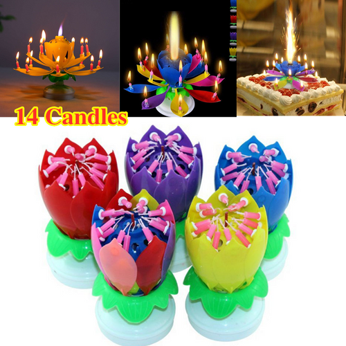 14 Music Birthday Cake Candles Fashion Lotus Flower Festival Decorative Candle Lights  Party DIY Cake Decoration Kids Candles