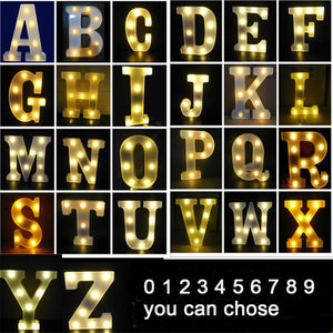 Luminous LED Letter Night Light Creative 26 English Alphabet Number Battery Lamp Romantic Wedding Party Valentine's Day Decor - Kesheng special effect equipment