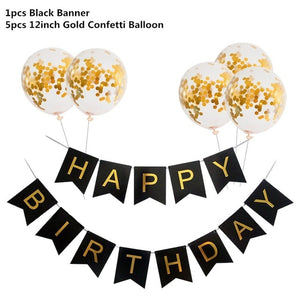 Black Gold Happy Birthday Banner Balloons Helium Number Foil Balloon for Baby Boy Kids Adult 18 30 Birthday Party Decorations - Kesheng special effect equipment