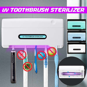 UV Light Ultraviolet Toothbrush Sterilizer Holder 5 in 1 Automatic Toothpaste Squeezers Dispenser Home Bathroom Set NEW - Kesheng special effect equipment