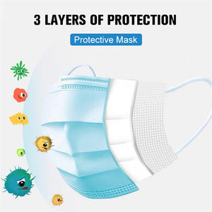 50 Pcs 3 Layer Disposable Protective Face Mouth Masks Anti Dust Influenza Bacterial 3 ply anti virus filter n95 ffps surgical - Kesheng special effect equipment
