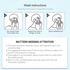 Disposable Mask Face Mask Mouth Medical Mask Protective Satety Mask Anti-Pollution Respirator PM2.5 3 Layer Elastic Earloop Mask - Kesheng special effect equipment