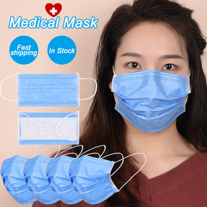 In Stock Hot Sale 3-layer Medical Surgical Mask 50pcs Filter Face Mouth Masks Non Woven Disposable Anti-Dust Masks Earloops Mask - Kesheng special effect equipment