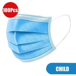 In stock Anti-dust PM2.5 3 layer Disposable Elastic face mask Soft Breathable Flu Hygiene Child Kids Face Mask fast shipping - Kesheng special effect equipment