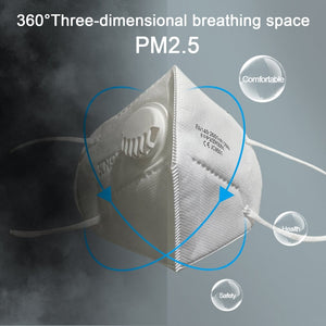 Ffp2 / Kn95 Protective Mask With Valve Non-Woven 5-Layer Mask High Efficiency Filtration 3D Kids Adult Filter Mask 1Pcs - Kesheng special effect equipment