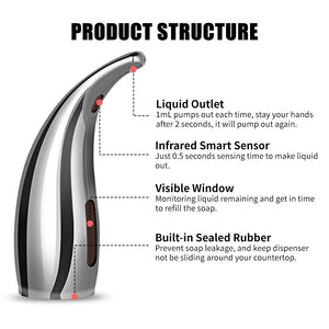 Soap Dispenser Pump Automatic Liquid Soap Dispenser Infrared Smart Sensor Touchless Foam Shampoo Dispensers For Kitchen Bathroom