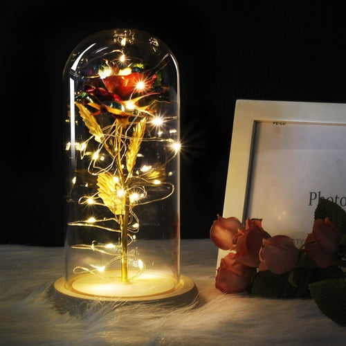 Medium Beauty And The Beast Red Rose In A Glass Dome On A Wooden Base For Valentine's Gifts LED Rose Lamps Christmas - Kesheng special effect equipment