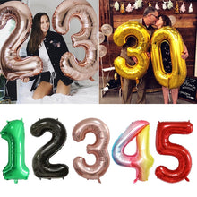 30 40inch Big Foil Birthday Balloons Helium Number Balloons Happy Birthday Party Decorations Kids Toy Figures Wedding Air Globos - Kesheng special effect equipment