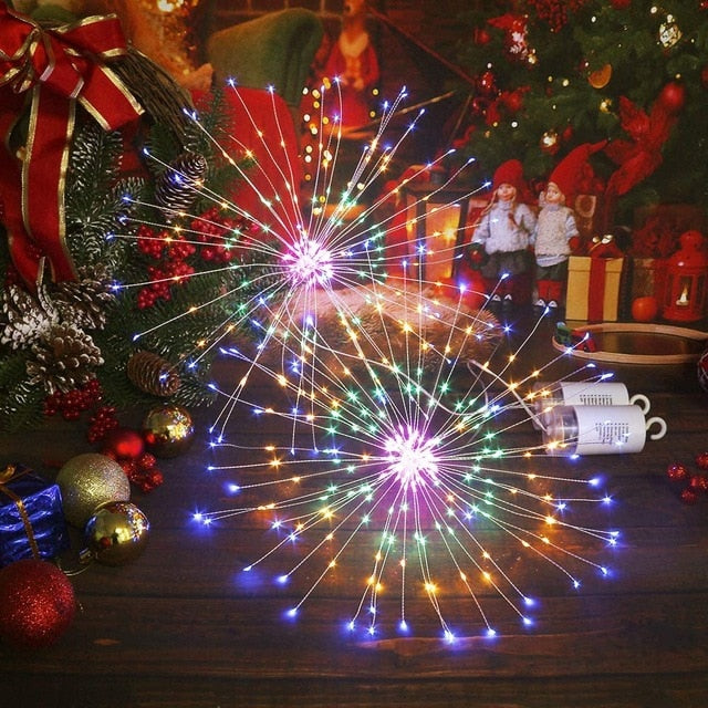 180 LED Firework String Lights 8 Mode Explosion Star Copper Silver Wire Fairy Light Decoration Lamp Remote Control String Light