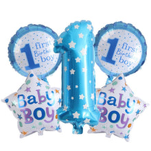 5PCS 1st Birthday Party Balloons Pink&Blue Foil Balloons Gifts Kids Birthday Party Decoration Baby Shower Party Supplies Toys - Kesheng special effect equipment