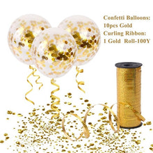 10pcs Gold Confetti Ballons with 100Y Curling Ribbon Wedding Balloons Happy Birthday Balloon Wedding Event Party Decor - Kesheng special effect equipment