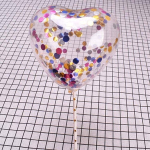 5 Sets/lot Romantic Clear Heart Shape Confetti Latex Balloons with Rods for Birthday Cake Wedding Birthday Party Decoration Ball - Kesheng special effect equipment
