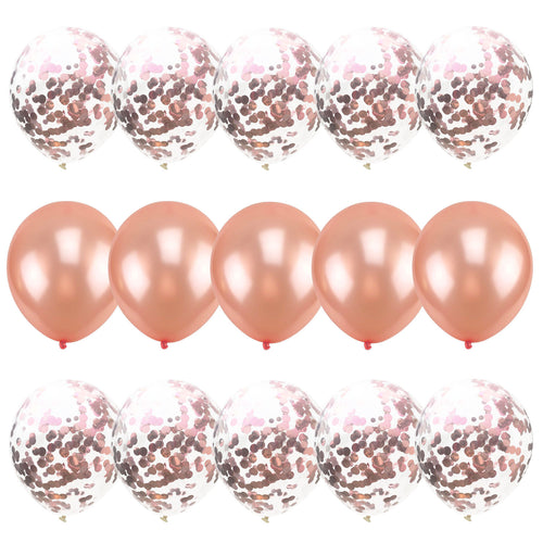 15pcs Mix Confetti Latex Balloons Hot Pink Blue Rose Gold for Baby Shower Happy Birthday Party Decorations Wedding Balloons - Kesheng special effect equipment