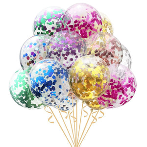 5pcs 12inch Confetti Balloons Clear Latex Balloon for Wedding Decoration Happy Birthday Baby Shower Party Supplies - Kesheng special effect equipment