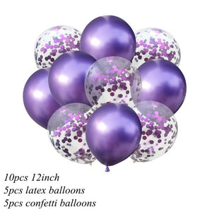 10Pcs 12inch Metallic Colors Latex Balloons Confetti Air Balloons Inflatable Ball For Birthday Wedding Party Balloon Supplies - Kesheng special effect equipment