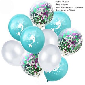 10PCS Cartoon Mermaid Balloons Confetti Air Ballons Wedding Ballons Kids Birthday Party Decorations Baby Shower Supplies - Kesheng special effect equipment