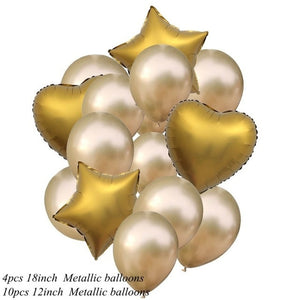 14pcs 12/18inch Metallic Confetti Balloons Happy Birthday Party Helium Balloon Decorations Wedding Festival Balon Party Supplies - Kesheng special effect equipment