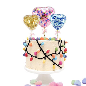 1PC 5inch Confetti Balloon Heart&Round Cake Topper With Straw Ribbon DIY Baby Shower Decoration Wedding Birthday Party Supplies - Kesheng special effect equipment
