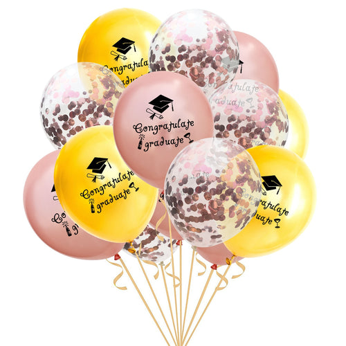 15pcs Mix Confetti Latex Balloons Rose Gold Black Congratulate Graduate Helium Balloons Kids Graduation Party Decoration 12 inch - Kesheng special effect equipment