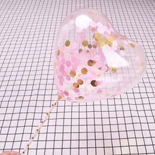 5Sets Transparent Heart Shape Love Confetti Balloons 5inch with Pole Ball for Birthday Party Cake Decoration Sequins Supplies - Kesheng special effect equipment