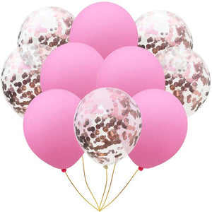 10pcs 12inches Rose Gold Confetti Colorful Latex Balloons Pink Party Balloons for Baby Shower Bridal Shower Wedding Decorations - Kesheng special effect equipment