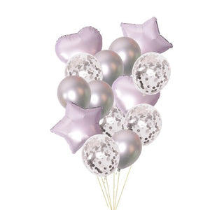 14pcs Metallic Color Star Heart Foil Balloons Thick Pearl Metal Latex Balloons Birthday Party Decoration Clear Confetti Balloons - Kesheng special effect equipment