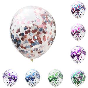 5pcs 12inch Double Color Clear Confetti Balloons Birthday Party Decorations Adults Wedding Decoration Globos Inflatable Ballons - Kesheng special effect equipment