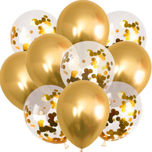 10Pcs 12inch Gold Confetti Balloons Metallic Balloon Kids Birthday Party Favor Latex Balloons Jungle Birthday Wedding Balloons - Kesheng special effect equipment