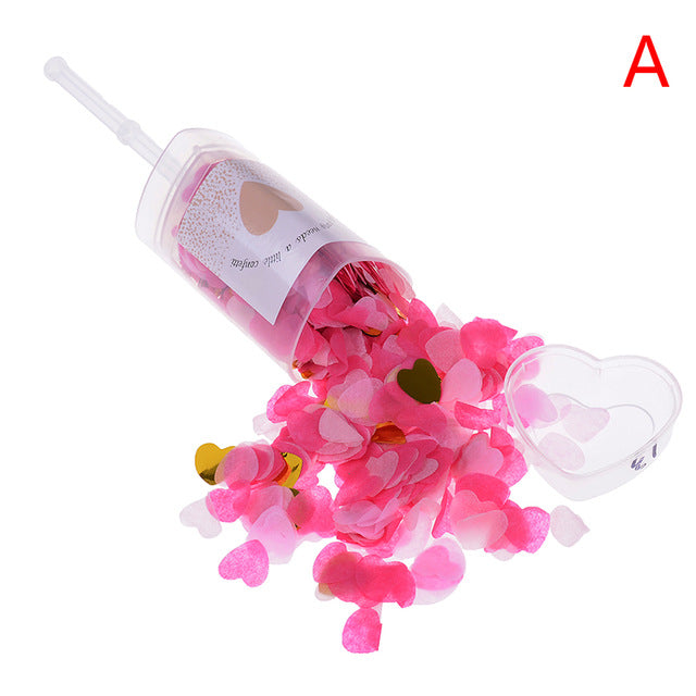 1pc Anniversary Baby Shower DIY Decorations Heart Push Poppers With Mixed Rose Gold Confetti for Wedding Bridal Shower - Kesheng special effect equipment