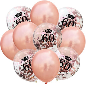 10pcs 12inch Rose Gold Latex Balloons 18/30/40/50th Happy Birthday Crown Confetti Balloons Wedding Party Baby Shower Decorations - Kesheng special effect equipment