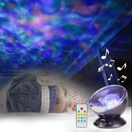 New DJ Disco Ball Ocean Wave  Sound Activated Laser Projector RGB Stage Lighting effect Lamp LED Light Music Christmas KTV Party - Kesheng special effect equipment