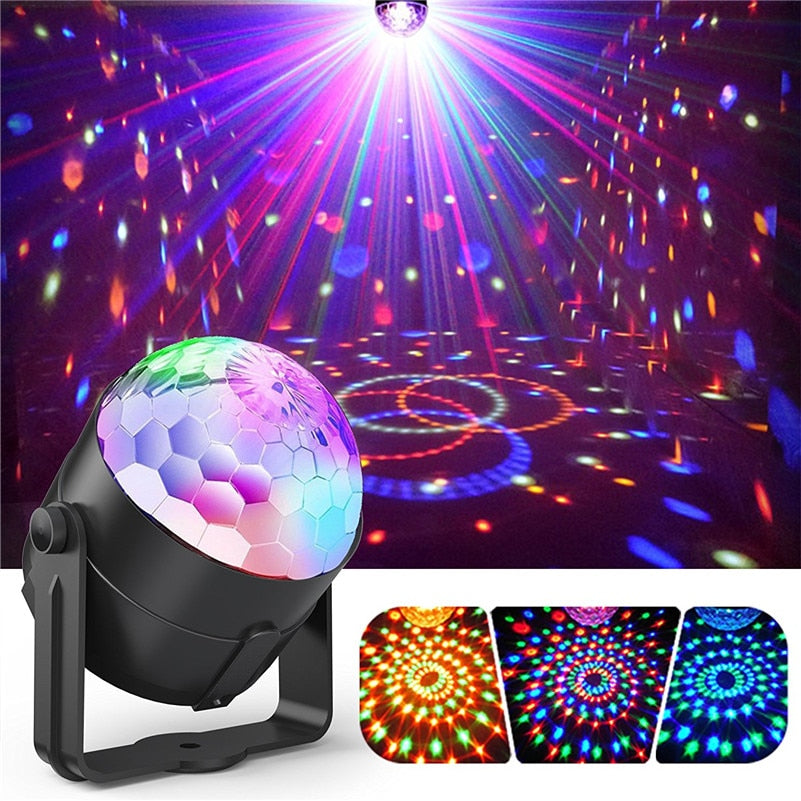 Sound Activated Disco Lights Rotating Ball Lights 3W RGB LED Stage Lights For Christmas Home KTV Xmas Wedding Show Pub D - Kesheng special effect equipment