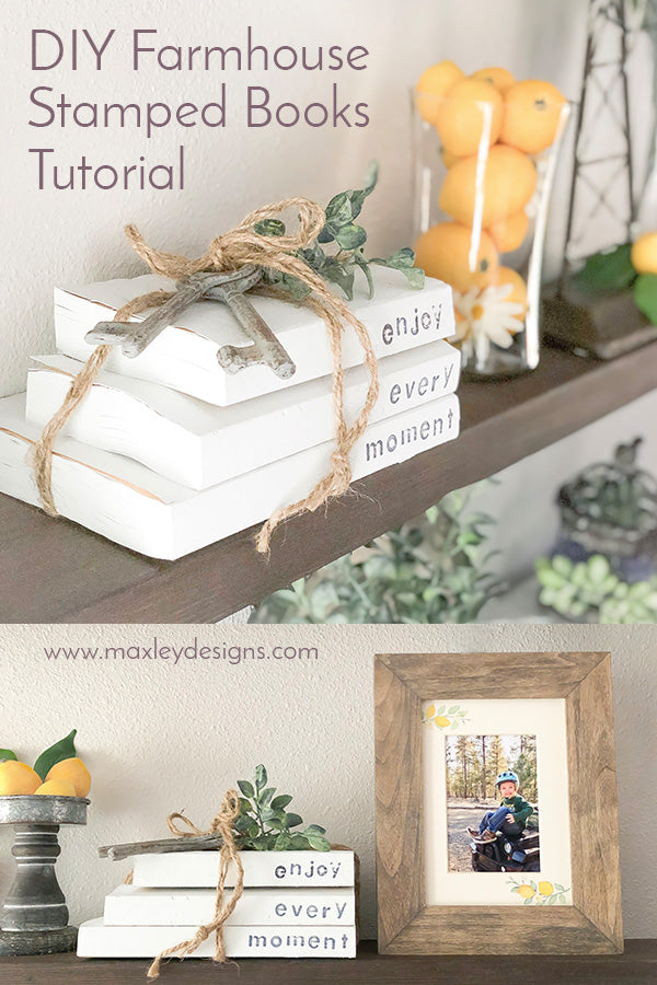 DIY Farmhouse Stamped Books Tutorial, DIY Farmhouse Stacked Books, DIY Chalk Paint Books, Farmhouse White Books