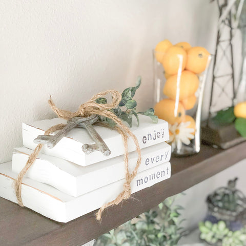 DIY Farmhouse Stamped Books, Farmhouse Stacked Books, Chalk Paint Books