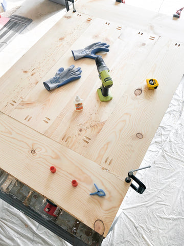 DIY Farmhouse Tabletop, Ryobi drill, Wood Glue, Clamps, Pocket Holes, Kreg Jig